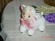 Vintage Rubens Japan Ceramic Baby Pink Bow Curly Lamb Planter 1950's Big Eyes