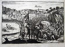 1476 Schlacht bei Murten Eidgenossen Schweiz Original-Kupferstich 1694
