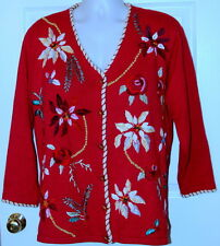 STORYBOOK KNITS CARDIGAN Sweater PLUS size 1X 2X CHRISTMAS POINSETTIA BEADED RED