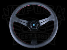 NARDI SPORT RALLY DEEP CORN BLACK PERF LEATHER STEERING WHEEL RED STITCH 350MM