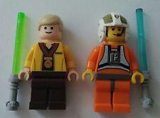 2 Figuren aus LEGO® Star Wars™ Teilen: Jedi Ritter & Pilot Laserschwerter Luke