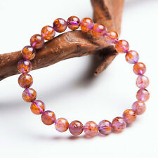 7mm Natural Cacoxenite Rutilated Quartz Crystal Beads Healing Bracelet AAA