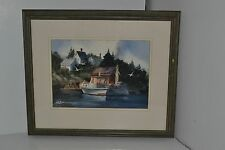 """Michael J Weber """"Ready for the Catch"""" 1978 Original Water Color Art Wood Frame"""