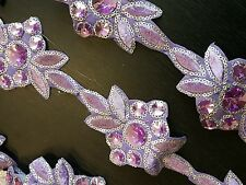 Lilac Jewel Sequin Indian wedding dance costume ribbon rhinestone applique mesh