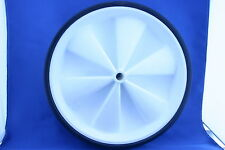 Large Plastic Wheel 250 mm diameter 50 mm wide, White with Black Plastic Tyre