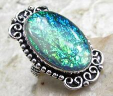 925 Sterling Silver Overlay RING Jewelry | GREEN LAB MADE OPAL size 6.75 M12-017