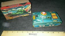 Vintage tin friction powered tank daiya japan sparking box nice.