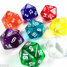Set 8 D20 Chessex Dice - Translucent Red Yellow Green Orange Purple Clear Teal