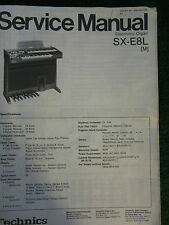 Technics Electronic Organ Service Manual SX E8L Wiring Schematics Parts List