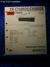 Sony Service Manual XR C750RDS / C850RDS Cassette Car Stereo (#3615)