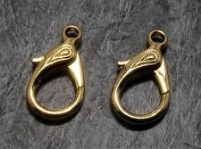 Vintage Set of 2 Large Gold Plated Metal Lobster Claw Clasps Jewelry Making 3cm