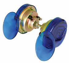 MOTORCYCLE HORN 12v SNAIL HORN BLUE 130db HIGH & LOW TONE WITH MOUNTING KIT
