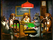 Abstract Oil painting Dogs playing poker Painted on canvas Art Painting