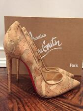 NIB Christian Louboutin So Kate 120 Cork Mesh Nude Beige Heel Pump Shoe 38