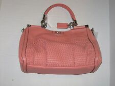 Coach 23341 Madison Woven Carrie Leather Salmon New with Tag