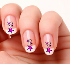 20 Nail Art Decals Transfers Stickers #72+ - Pink Stars & Swirls colours
