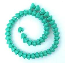 50 Turquoise Czech Glass Beads Baby Bell Flower 4x6mm
