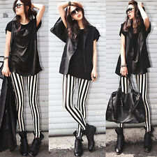 FD4525  Women Rock Punk Funky Nana Gothic Vertical Stripes Leggings Pants