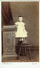 Photo cdv : F.Berillon ; Une petite fille debout sur un tabouret , vers 1865