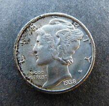 US Silver Mercury Dime 1938 D Denver Unc Coin Key Date  BX642