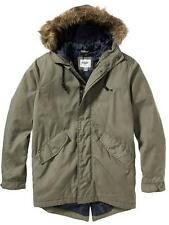 Men's Canvas Parka Hooded Fur Trim Winter Coat Old Navy Jacket Military Green L