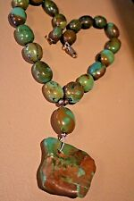Green Turquoise With Carmel Matrix Nugget Necklace - 16 Inches long