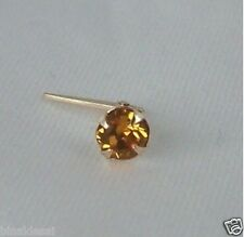 9ct Yellow Gold Andralok 3mm GOLDEN TOPAZ CRYSTAL NOSE STUD PIN B'day GIFT B NEW