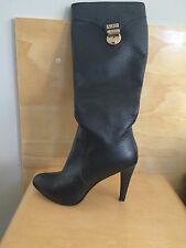 Versace Boots!! Tall Black Leather Hidden Platform Size 6 JVC