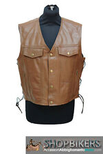 Gilet Uomo Warrior Pelle Marrone Laccetti Leather Vest Brown Biker Moto TG XL