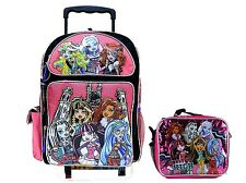 "Monster High Large 16"" Rolling Backpack with Lunch Bag - Varsity"
