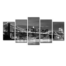 Black White Cityscape Poster Print Home Wall Art Decor New York Bridge Framed