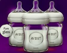 (9-Pack) Philips AVENT Natural Glass Bottle, 4 Ounce Free Shipping, New