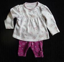 Baby clothes GIRL newborn 0-1m outfit dress-style top LS floral, purple leggings
