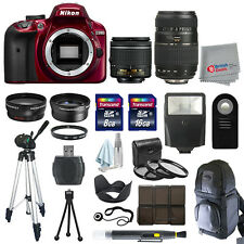Nikon D3400 DSLR Camera Red 4 Lens Kit 18-55mm VR + 70-300 + All You Need Kit
