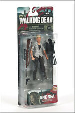 THE WALKING DEAD AMC TV SERIES 4 ANDREA WITH PITCHFORK RIFLE & GUN ACTION FIGURE