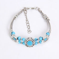 New DIY fashion beaded blue Tibetan silver bracelet free shipping S156