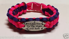 """""""I Love You To The Moon and Back"""" Paracord Bracelet; Hot Pink with Purple Rims"""