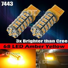 10X 7443 High Power Amber Yellow SMD Chip 68-LED Turn Signal Blinker Light bulbs
