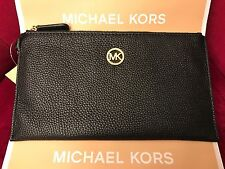 NWT MICHAEL KORS PEBBLED LEATHER FULTON LARGE ZIP CLUTCH/WRISTLET IN BLACK