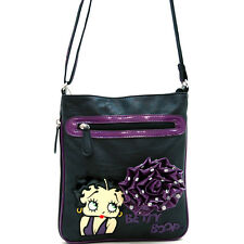 Betty Boop messenger bag with Rhinestone Studded Rosette Accent - Purple