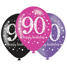 6 x 90th Birthday Balloons Black Pink Lilac Party Decorations Age 90 Balloons