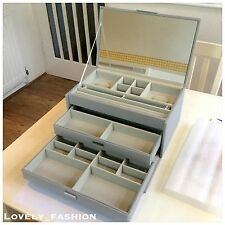NEW PANDORA Dove Grey Three Tier Extra Large Size Jewellery Box Draws Mirror