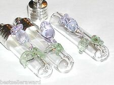1 Purple Tulip Rose Flower Glass urn rice vial charm pendant fairy small Bottle
