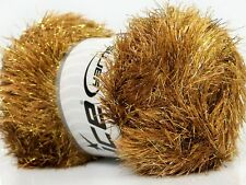Large 100 gram skein Camel Gold Eyelash Dazzle Ice Metallic Eyelash Yarn 35803