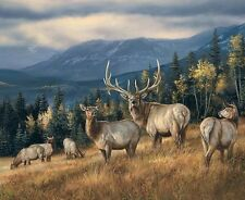 ELK HERD with Scenery on ONE 16 inch Square Fabric Panel To Quilt/ Sew