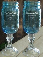 2 BLUE ENGRAVED REDNECK WINE GLASSES - mason jar, personalized, wedding, country