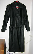 MEN'S BLACK LEATHER TRENCH COAT--LARGE