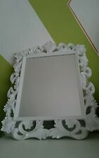White Ornate Rectangular Vintage Baroque Mirror NEW 50cm WALL OR FREE STANDING