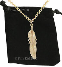 VAMPIRE DIARIES KATHERINE GOLD PLATED FEATHER NECKLACE NINA DOBREV ELENA PIERCE