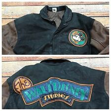 90s VTG MICKEY MOUSE LEATHER Jacket M WALT DISNEY STUDIOS Bomber VARSITY Logo